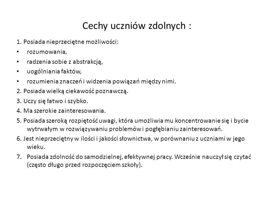 Cechy uczniów zdolnych :