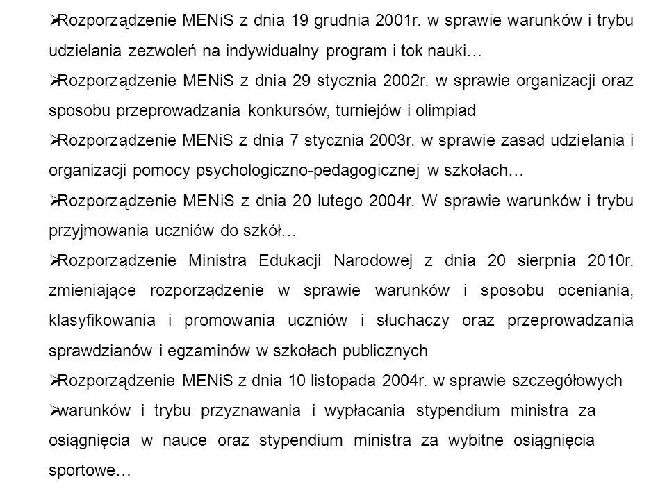 Rozporządzenie MENiS z dnia 19 grudnia 2001r