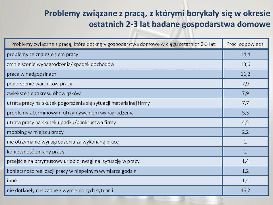 Problemy związane z pracą, z którymi borykały się w okresie ostatnich 2-3 lat badane gospodarstwa domowe
