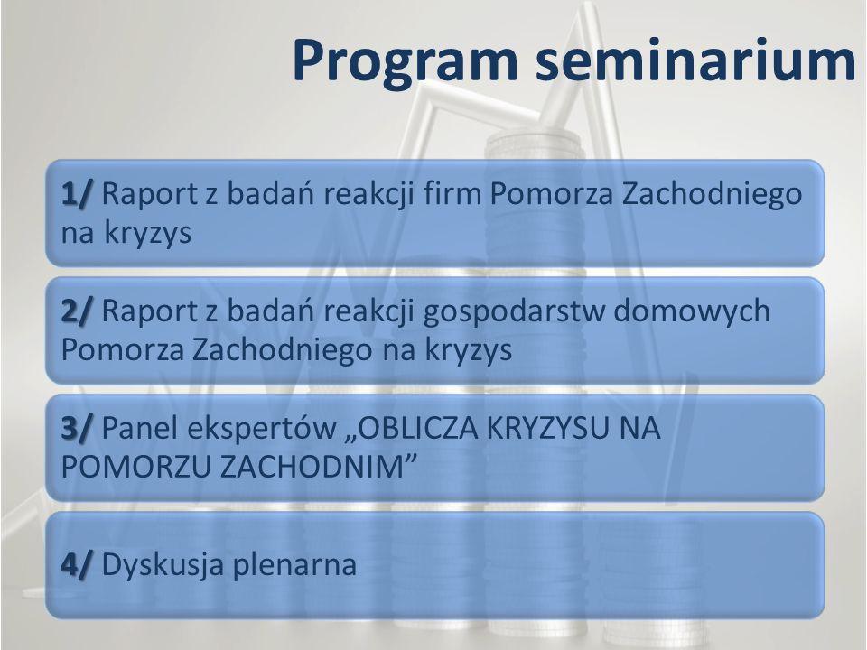Program seminarium 1/ Raport z badań reakcji firm Pomorza Zachodniego na kryzys.