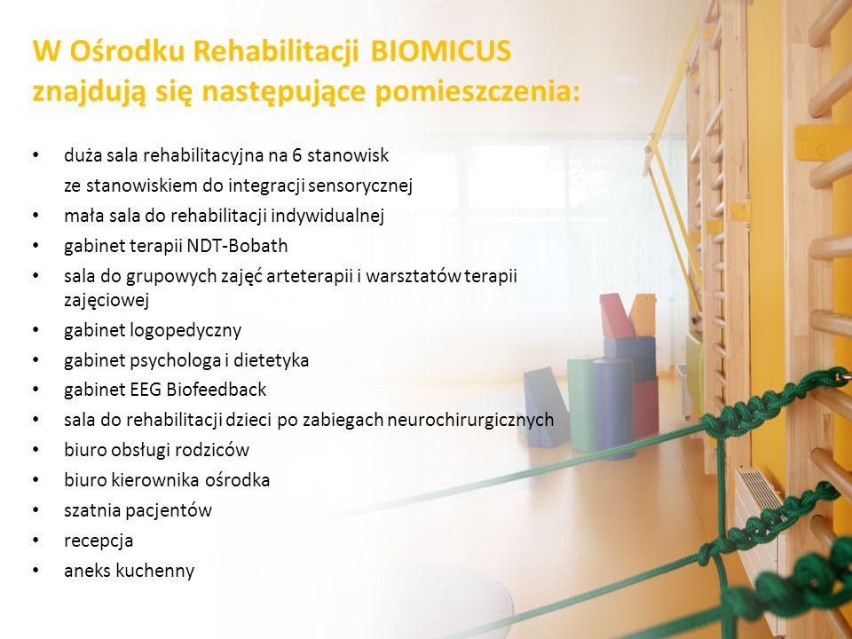 W Ośrodku Rehabilitacji BIOMICUS znajdują się następujące pomieszczenia: