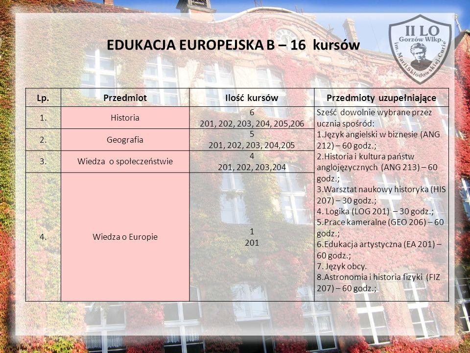 EDUKACJA EUROPEJSKA B – 16 kursów