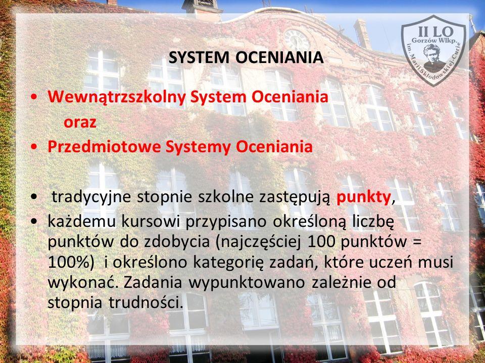 SYSTEM OCENIANIA Wewnątrzszkolny System Oceniania oraz