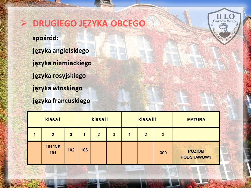 DRUGIEGO JĘZYKA OBCEGO spośród: języka angielskiego języka niemieckiego języka rosyjskiego języka włoskiego języka francuskiego