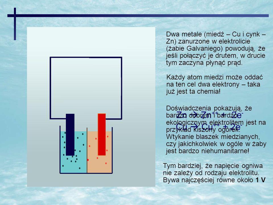 Zn  Zn++ + 2e- Cu  Cu++ + 2e-