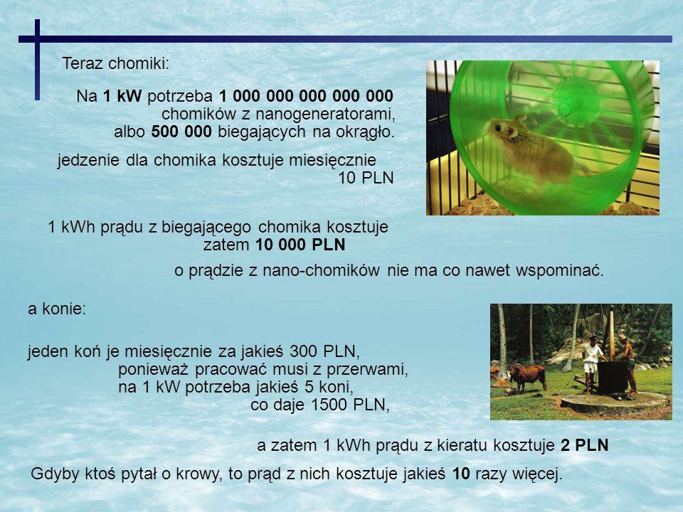 Teraz chomiki: Na 1 kW potrzeba 1 000 000 000 000 000. chomików z nanogeneratorami, albo 500 000 biegających na okrągło.