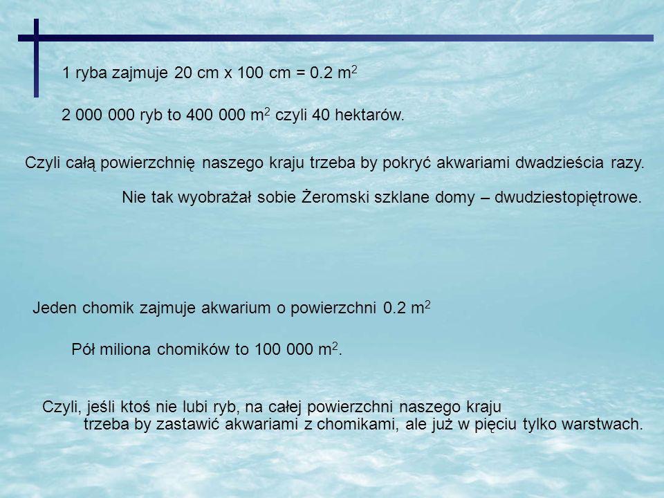 1 ryba zajmuje 20 cm x 100 cm = 0.2 m2 2 000 000 ryb to 400 000 m2 czyli 40 hektarów.