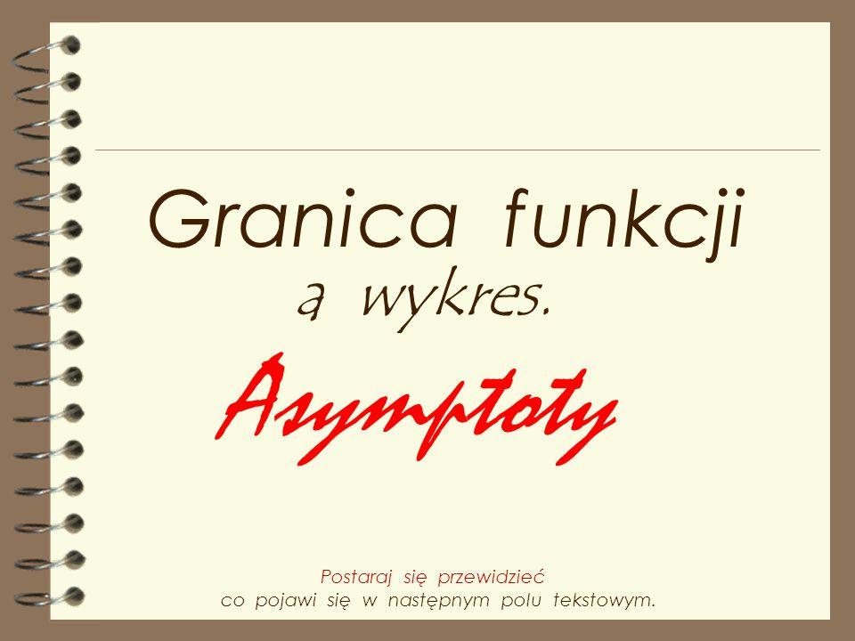Asymptoty Granica funkcji a wykres. Postaraj się przewidzieć