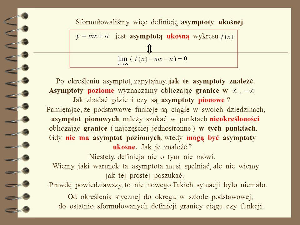 Sformułowaliśmy więc definicję asymptoty ukośnej.