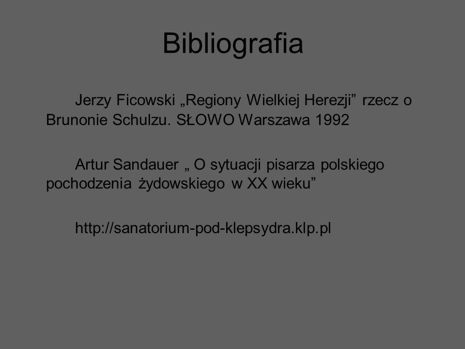 """Bibliografia Jerzy Ficowski """"Regiony Wielkiej Herezji rzecz o Brunonie Schulzu. SŁOWO Warszawa 1992."""