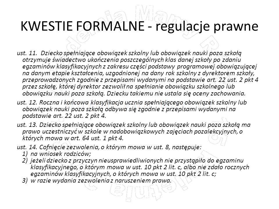 KWESTIE FORMALNE - regulacje prawne