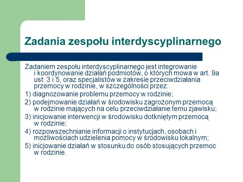 Zadania zespołu interdyscyplinarnego