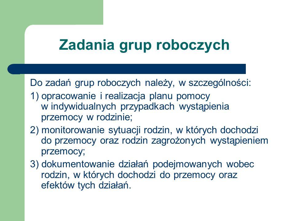 Zadania grup roboczych