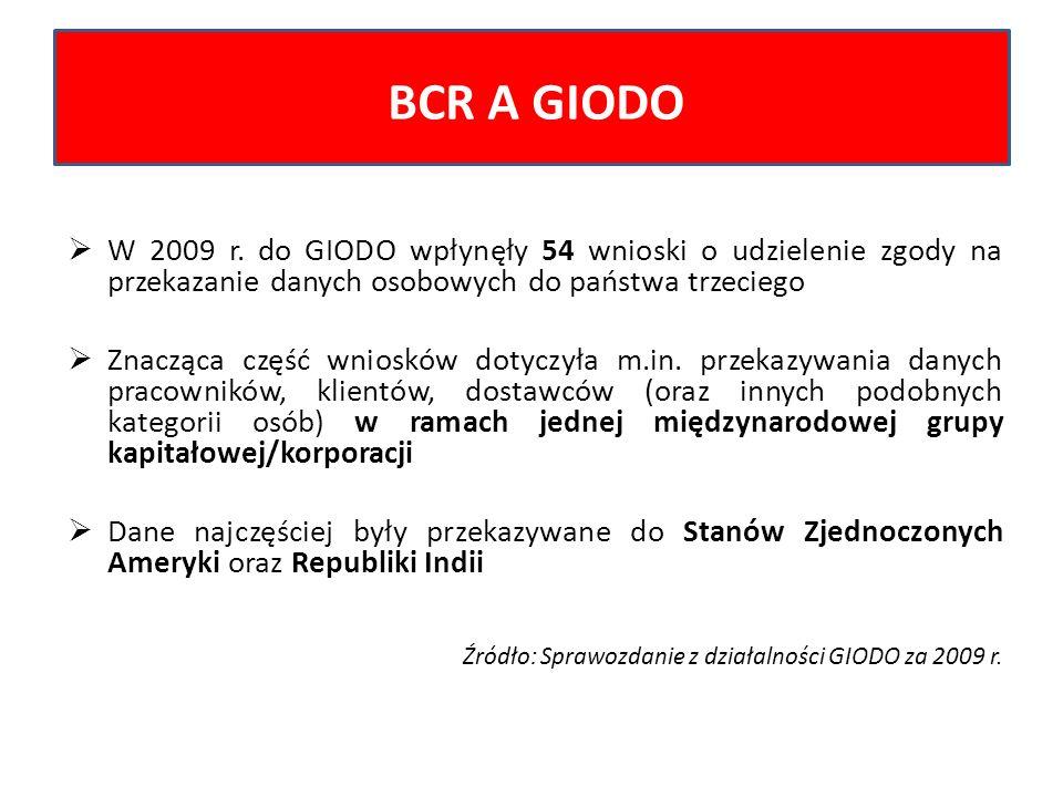 BCR A GIODO W 2009 r. do GIODO wpłynęły 54 wnioski o udzielenie zgody na przekazanie danych osobowych do państwa trzeciego.