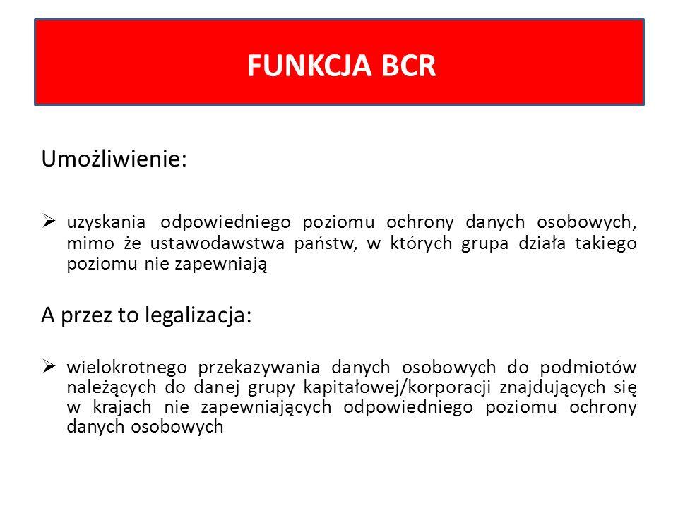 FUNKCJA BCR Umożliwienie: A przez to legalizacja: