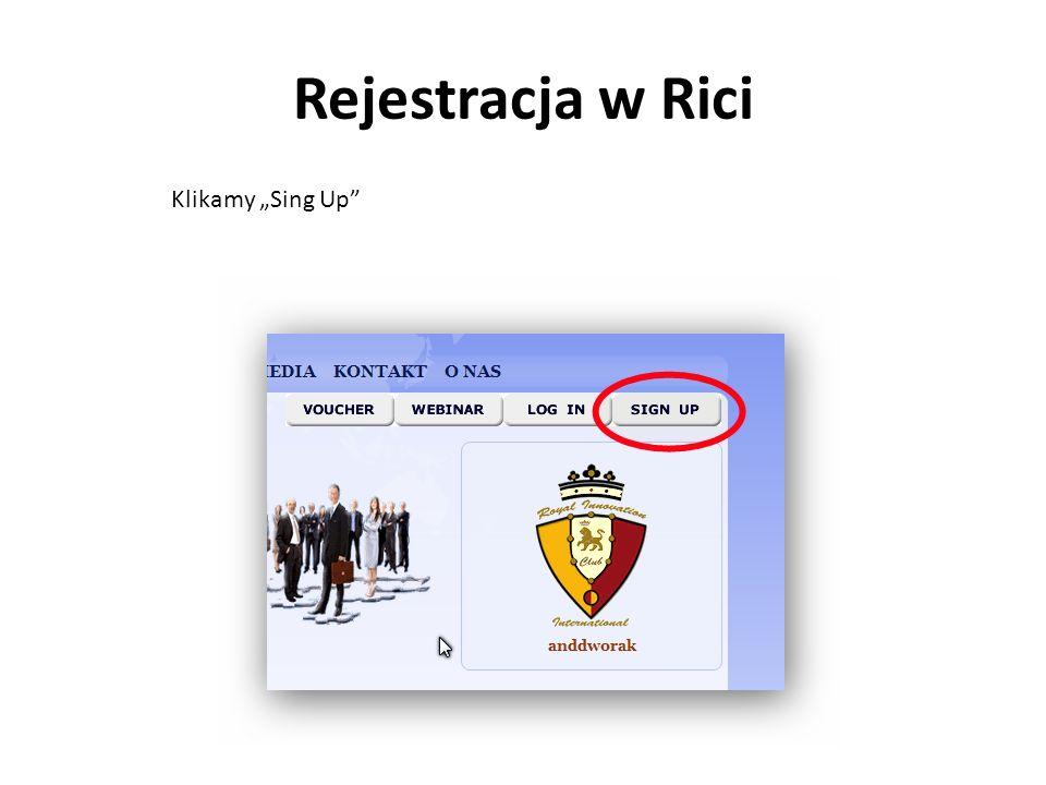 """Rejestracja w Rici Klikamy """"Sing Up"""