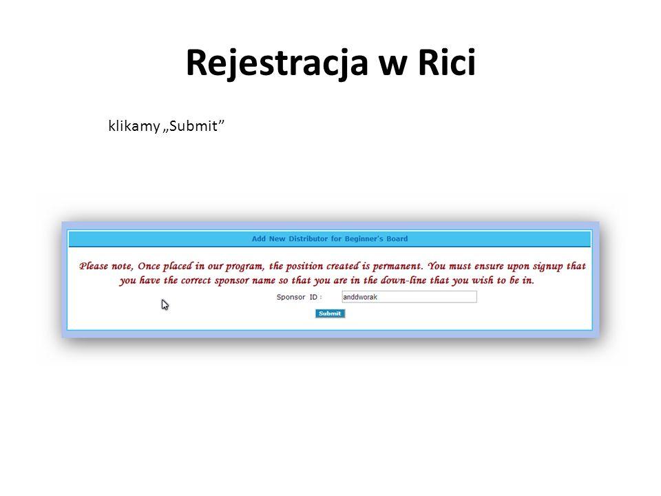 """Rejestracja w Rici klikamy """"Submit"""