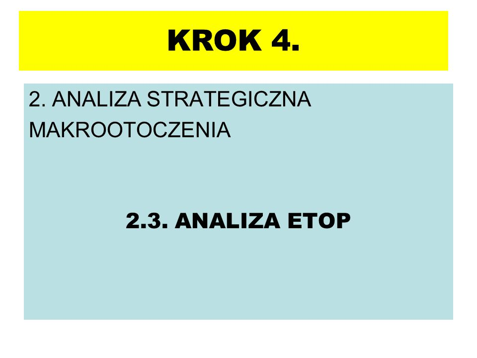 KROK 4. 2. ANALIZA STRATEGICZNA MAKROOTOCZENIA 2.3. ANALIZA ETOP