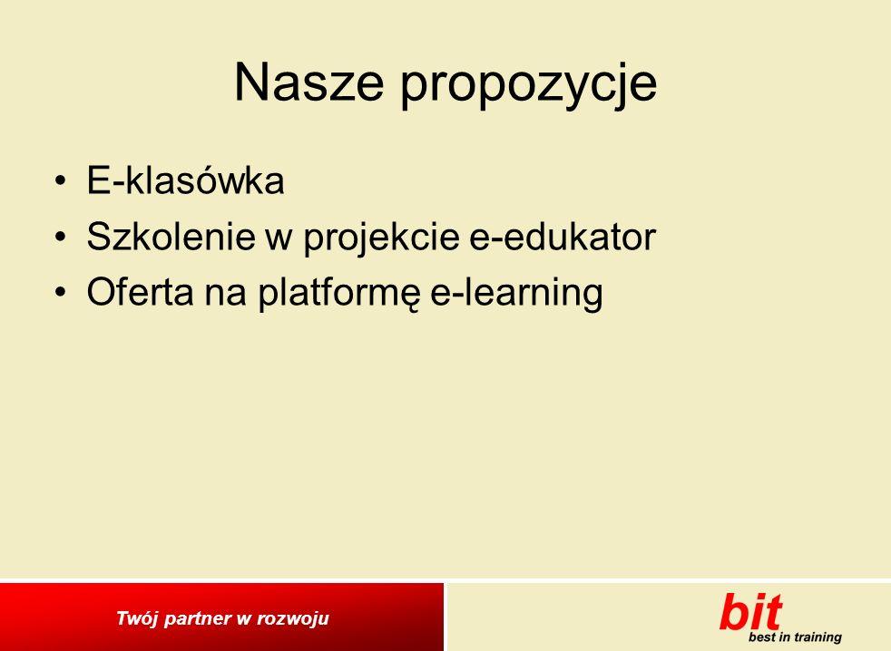 Nasze propozycje E-klasówka Szkolenie w projekcie e-edukator