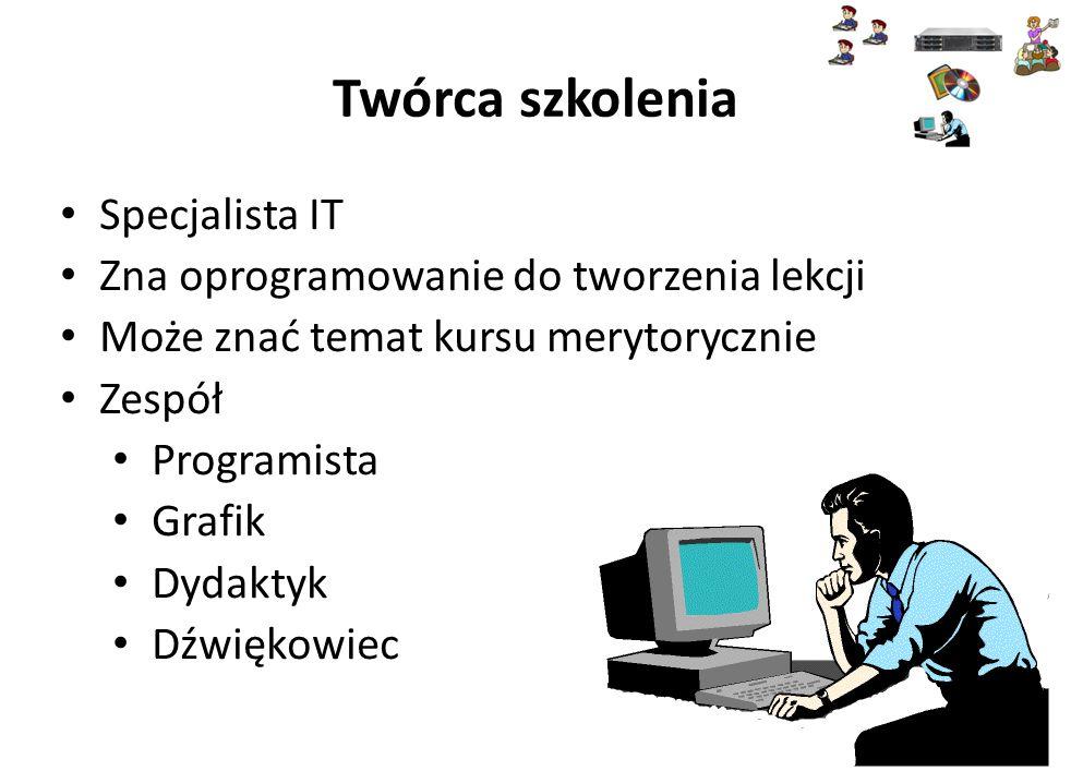 Twórca szkolenia Specjalista IT Zna oprogramowanie do tworzenia lekcji