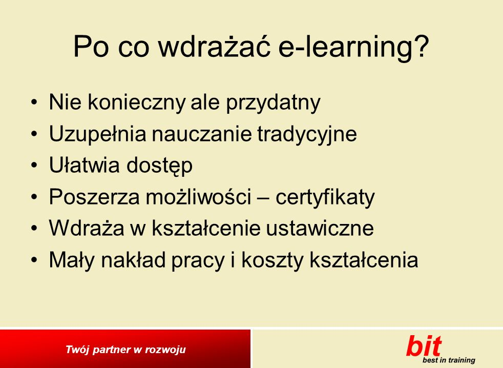Po co wdrażać e-learning