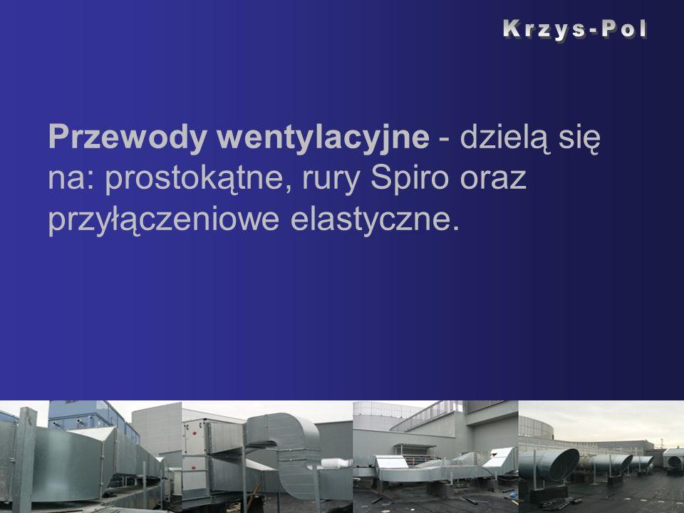 Krzys-Pol Przewody wentylacyjne - dzielą się na: prostokątne, rury Spiro oraz przyłączeniowe elastyczne.