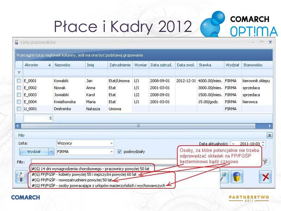 Płace i Kadry 2012 Kontrola zwolnienia ze składek FP/FGŚP