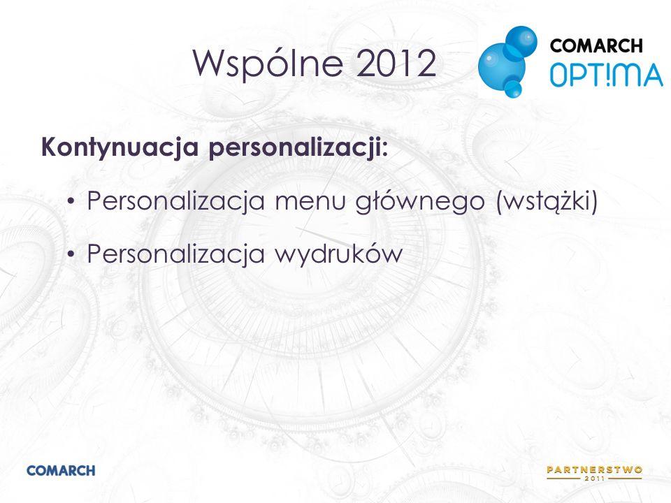 Wspólne 2012 Kontynuacja personalizacji: