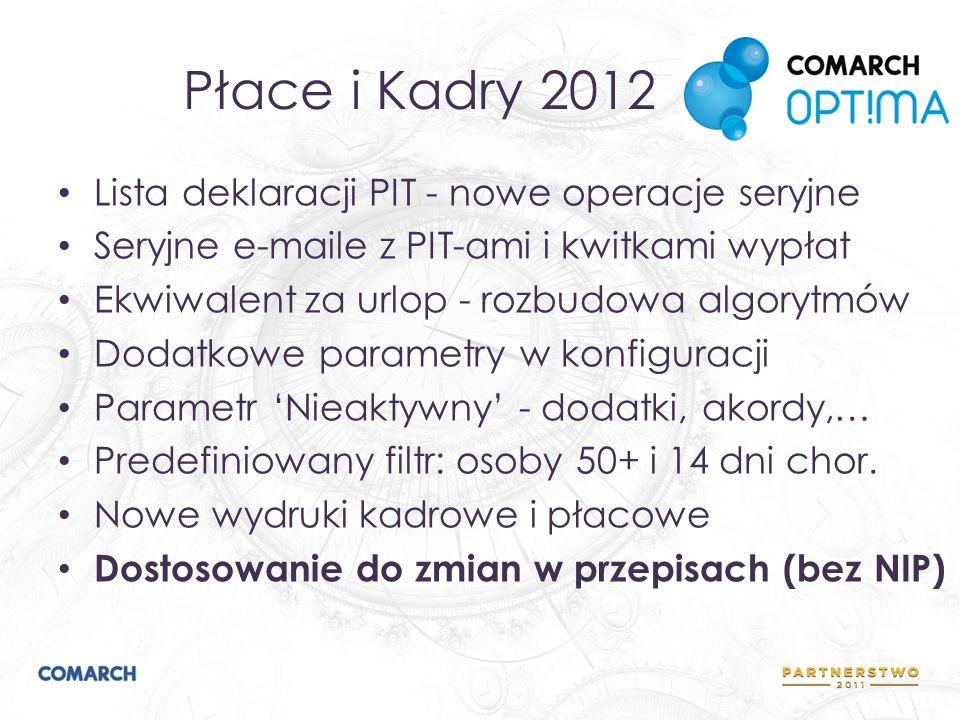 Płace i Kadry 2012 Lista deklaracji PIT - nowe operacje seryjne