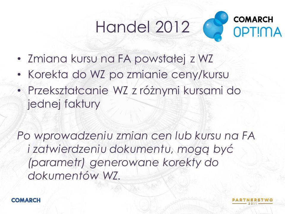 Handel 2012 Zmiana kursu na FA powstałej z WZ