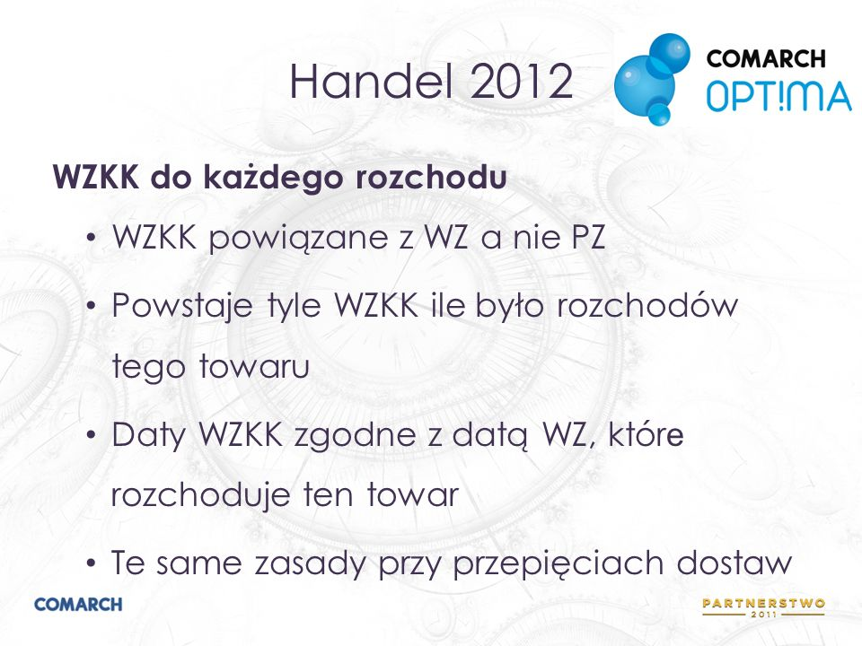 Handel 2012 WZKK do każdego rozchodu WZKK powiązane z WZ a nie PZ