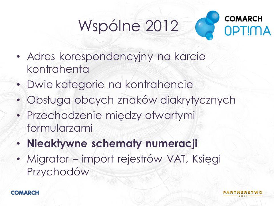 Wspólne 2012 Adres korespondencyjny na karcie kontrahenta