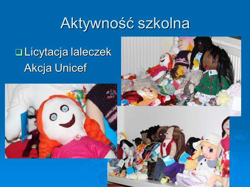 Aktywność szkolna Licytacja laleczek Akcja Unicef