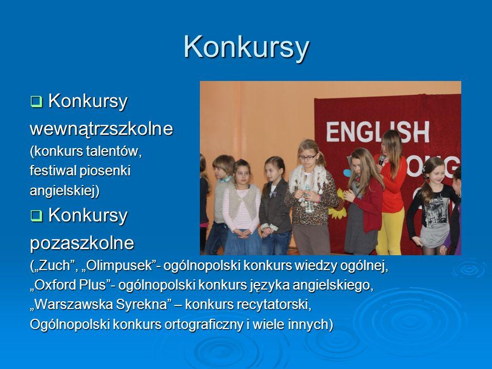 Konkursy Konkursy wewnątrzszkolne pozaszkolne (konkurs talentów,
