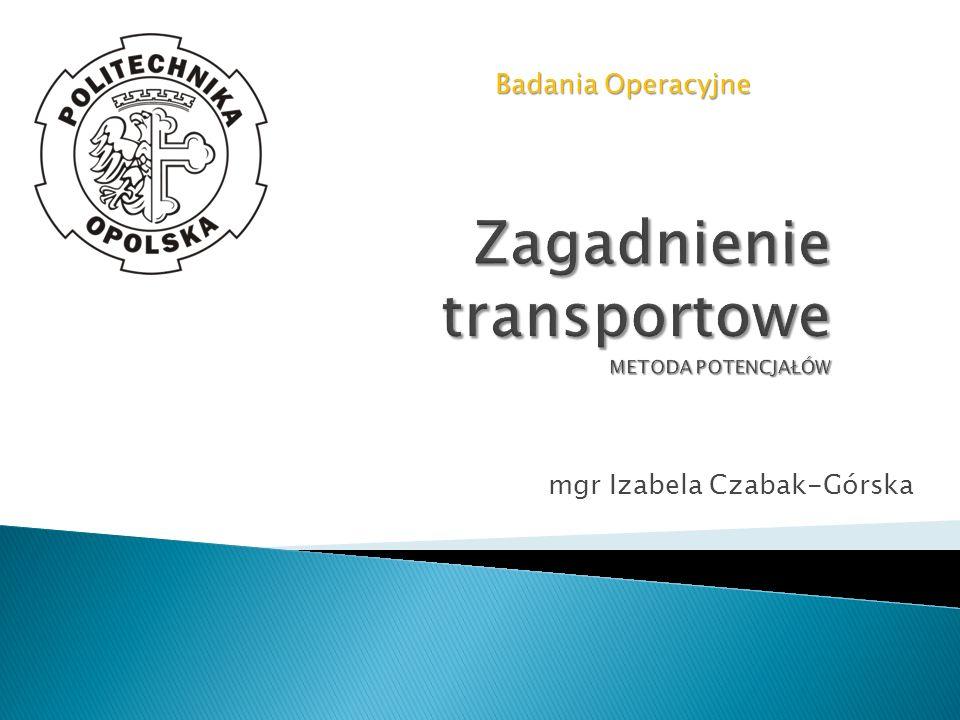 Zagadnienie transportowe METODA POTENCJAŁÓW