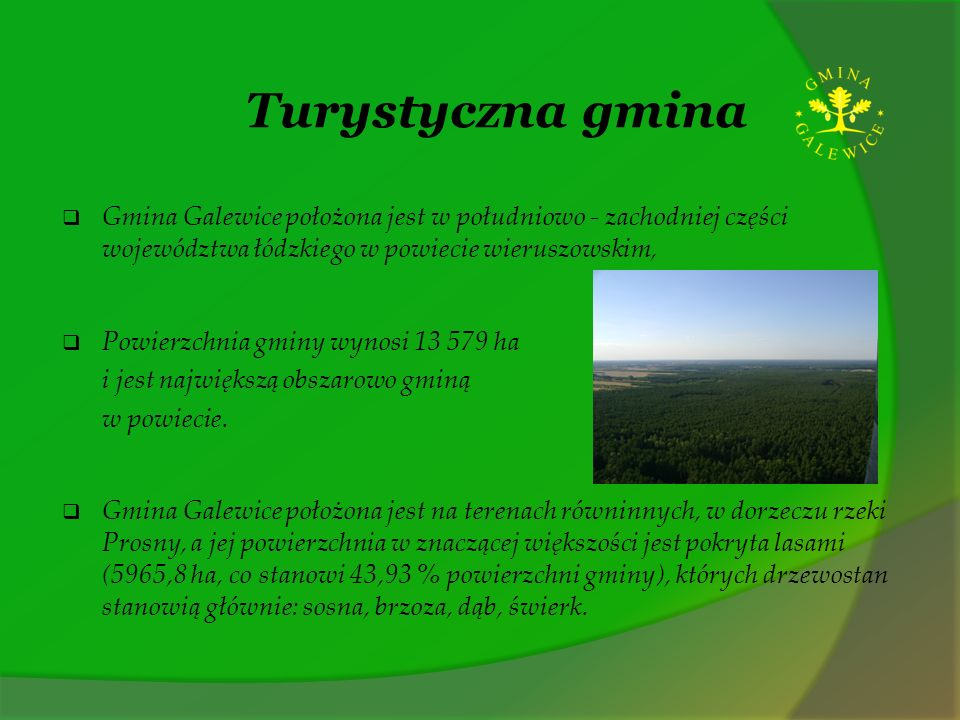 Turystyczna gmina Gmina Galewice położona jest w południowo - zachodniej części województwa łódzkiego w powiecie wieruszowskim,
