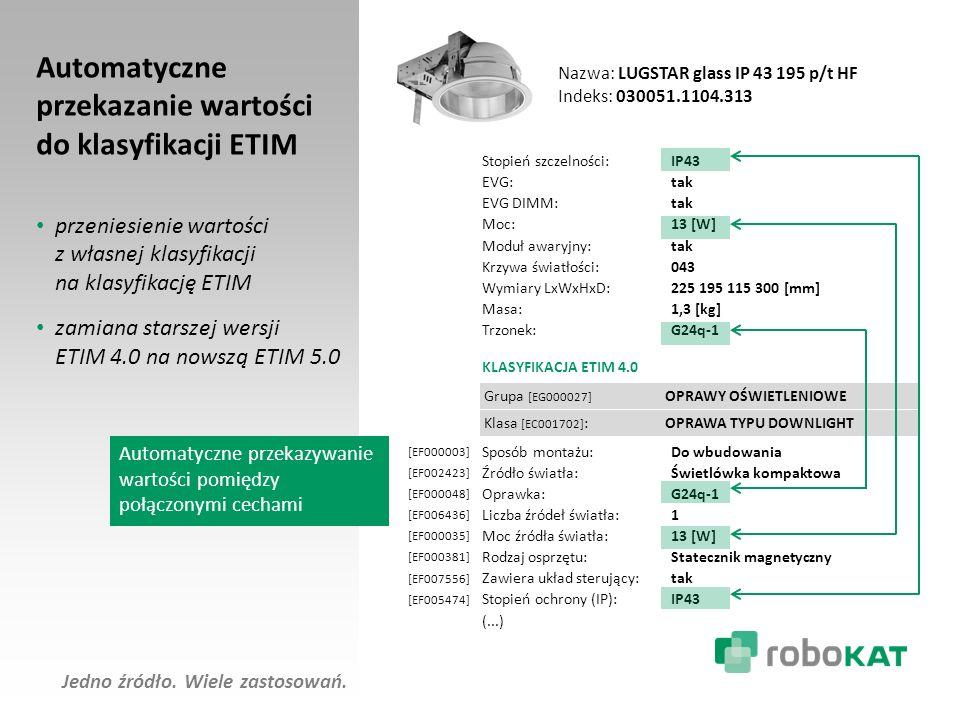 Automatyczne przekazanie wartości do klasyfikacji ETIM