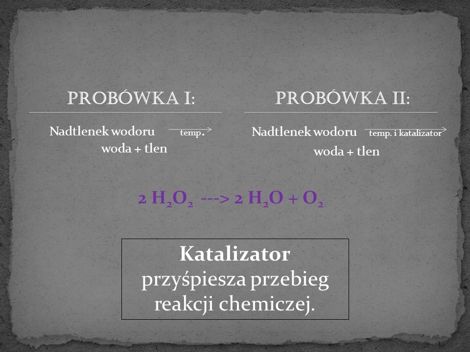 Katalizator przyśpiesza przebieg reakcji chemiczej.