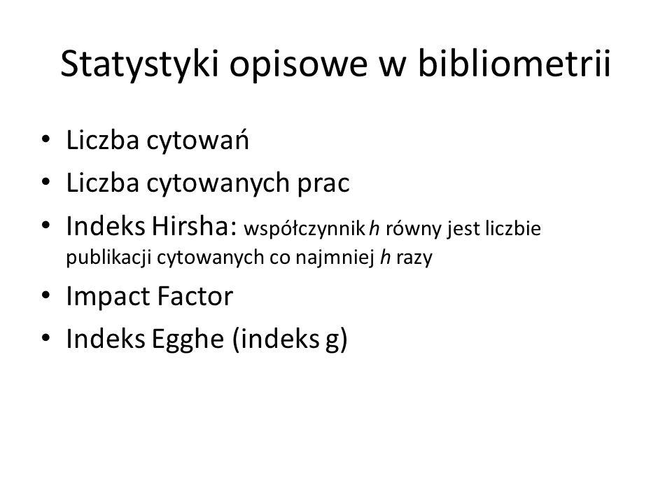 Statystyki opisowe w bibliometrii