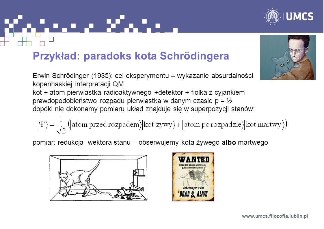 Przykład: paradoks kota Schrödingera