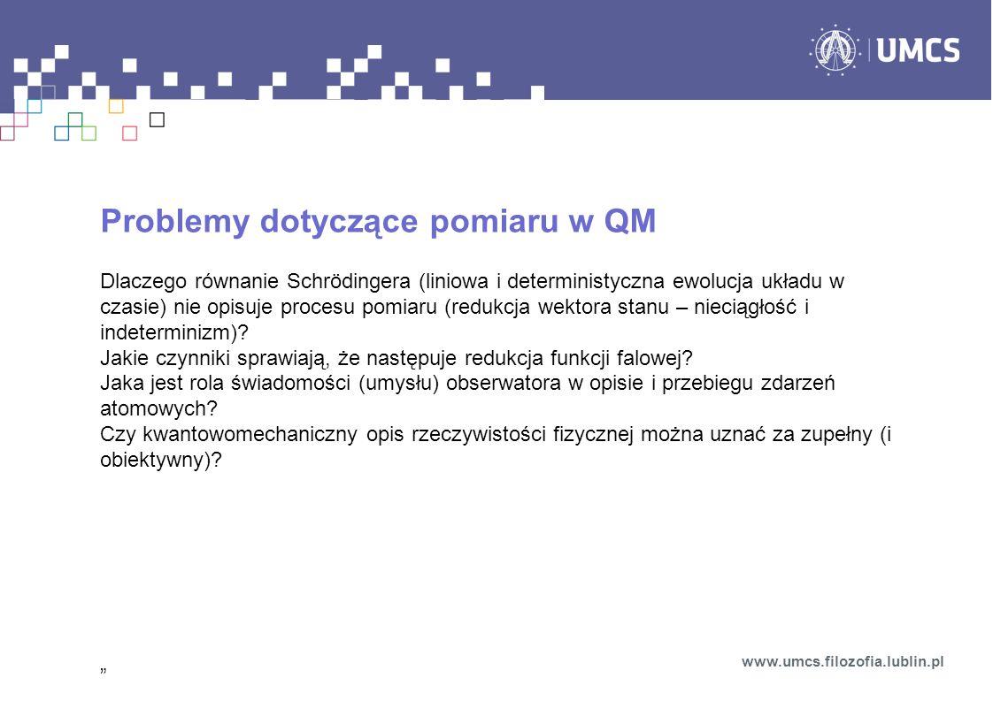 Problemy dotyczące pomiaru w QM
