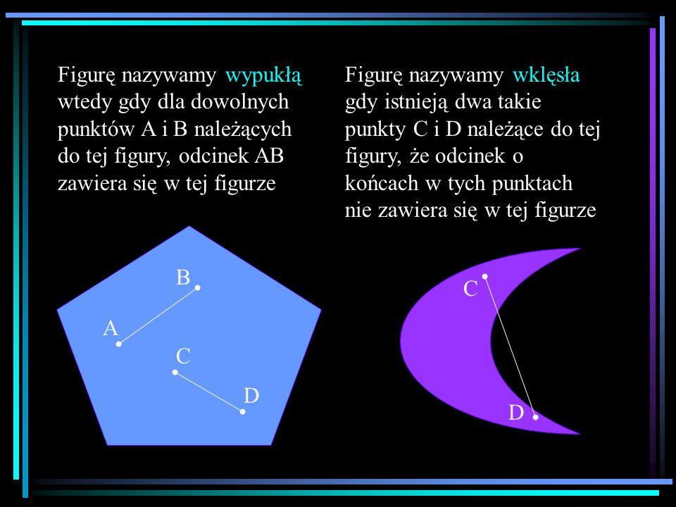 Figurę nazywamy wypukłą wtedy gdy dla dowolnych punktów A i B należących do tej figury, odcinek AB zawiera się w tej figurze