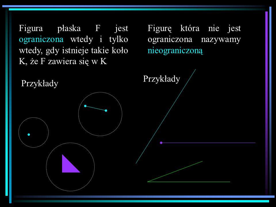 Figura płaska F jest ograniczona wtedy i tylko wtedy, gdy istnieje takie koło K, że F zawiera się w K