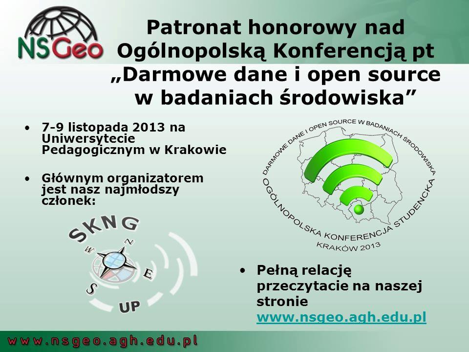 """Patronat honorowy nad Ogólnopolską Konferencją pt """"Darmowe dane i open source w badaniach środowiska"""