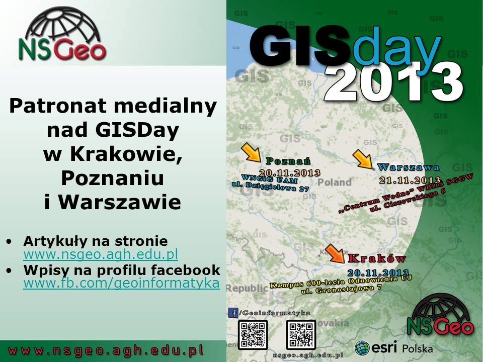 Patronat medialny nad GISDay w Krakowie, Poznaniu i Warszawie