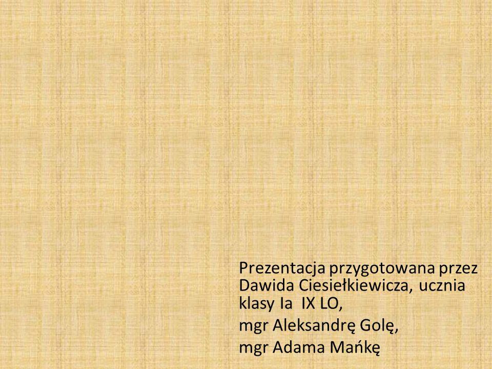 Prezentacja przygotowana przez Dawida Ciesiełkiewicza, ucznia klasy Ia IX LO, mgr Aleksandrę Golę, mgr Adama Mańkę
