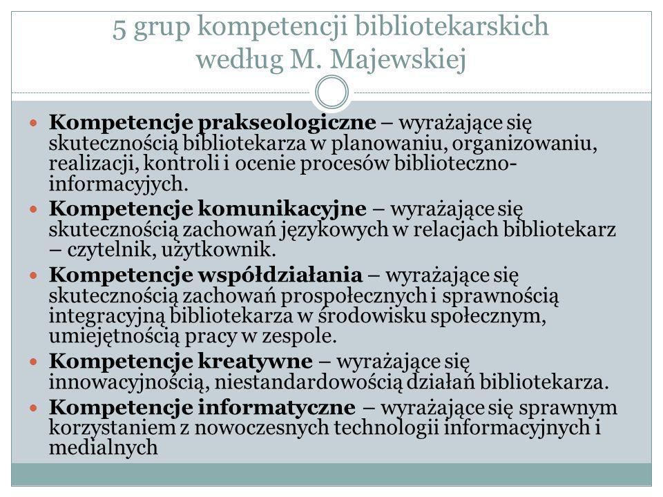 5 grup kompetencji bibliotekarskich według M. Majewskiej