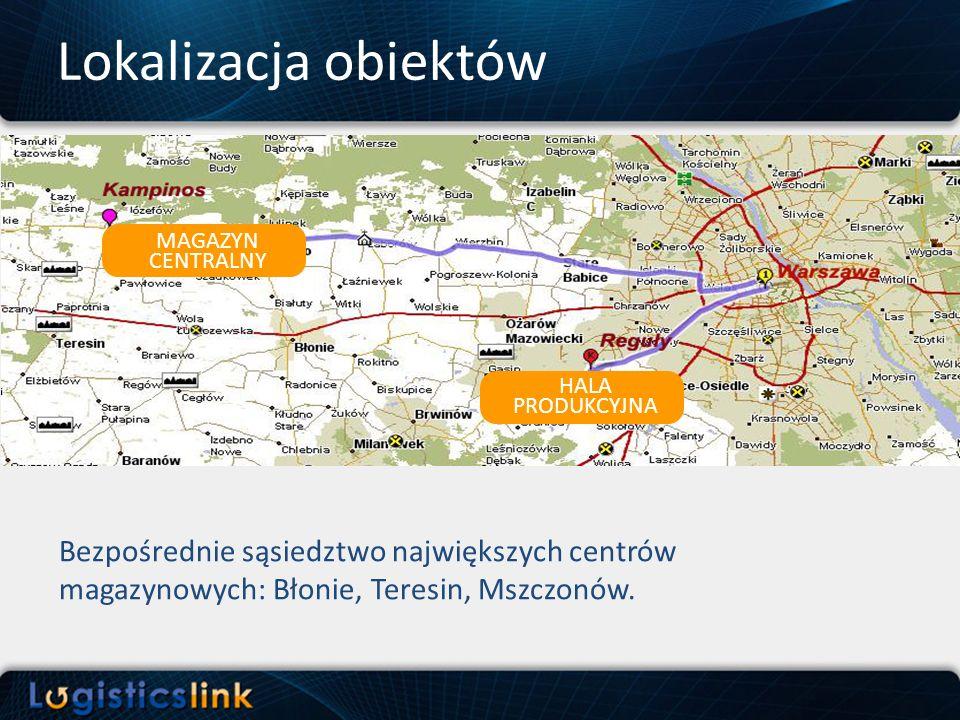 Lokalizacja obiektów MAGAZYN CENTRALNY. HALA. PRODUKCYJNA.