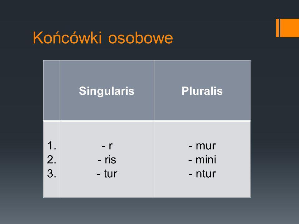 Końcówki osobowe Singularis Pluralis 1. 2. 3. - r ris tur - mur - mini