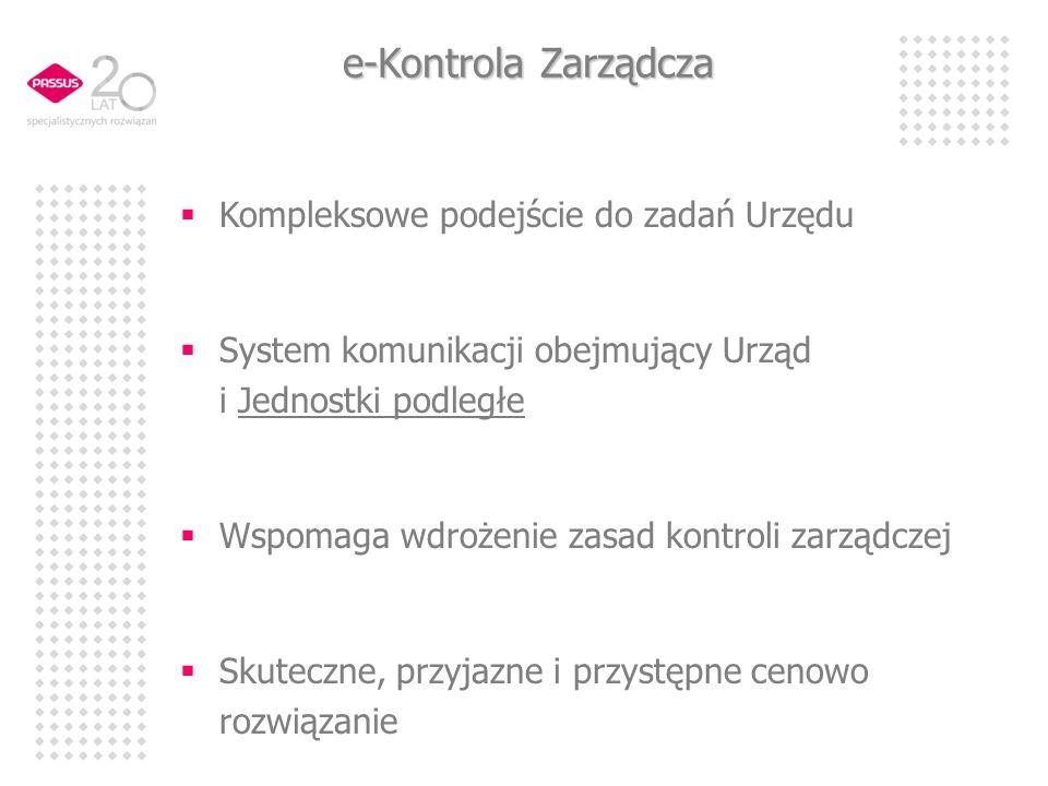 e-Kontrola Zarządcza Kompleksowe podejście do zadań Urzędu
